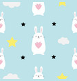 seamless pattern rabbit hare head heart in hands vector image vector image