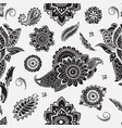 seamless pattern with mehndi elements floral vector image