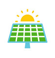 solar cell panel and sun green energy icon flat vector image