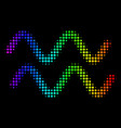 spectral colored pixel sinusoid waves icon vector image vector image