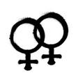 sprayed female logo woman symbol gender symbol vector image vector image