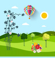 spring meadow with flowers trees and hot air vector image vector image