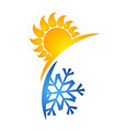 sun and snowflake symbol vector image vector image