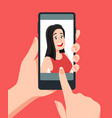 take face photos woman taking selfie on vector image