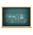 trailer drawn on blackboard vector image vector image
