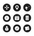 Transportation service black icons set vector image