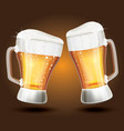 two glass beer on a brown gradient background vector image