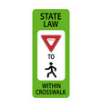 usa traffic road signyield to pedestrians vector image vector image