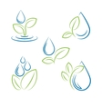 Water drop and leaf symbol set vector image