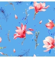 Watercolor Seamless Pattern with Flowers Magnolia vector image