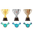 winners awards trophy medal sets vector image