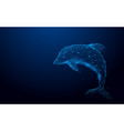 wireframe dolphin mesh from a starry background vector image vector image