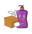 with box shampo character cartoon style vector image