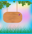 wooden board pointer on a rope vector image