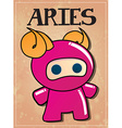 Zodiac sign Aries with cute ninja character vector image