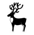 christmassy reindeer with horns silhouette deer vector image