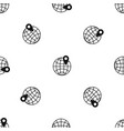 globe with pin pattern seamless black vector image