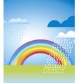 simple rainbow landscape in vivid color vector image