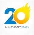 20 anniversary flame logo vector image vector image