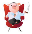 a pig-boss is sitting in a red armchair and smokes vector image