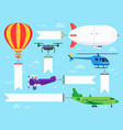 air vehicles banner flying helicopter sign vector image