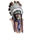 apache man wearing an indian chief headdress vector image
