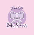 baby shower card with ribbon bow vector image