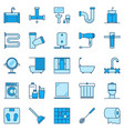 bathroom blue icons toilet and washroom vector image