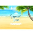 beach and ocean with palm trees and sailing vector image vector image