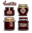 blackcurrant jam in glass jars vector image vector image