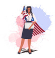 businesswoman with usa flag holding laptop labor vector image vector image
