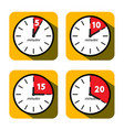 clock set five ten fifteen and twenty minutes vector image vector image
