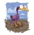 cormorant in the nest vector image