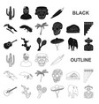 country mexico black icons in set collection for vector image vector image