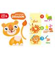 cut glue lion kid color paper application game vector image vector image