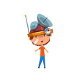 cute kid in headdress with antennas measuring vector image vector image