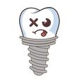 dental implant funny character kawaii style vector image vector image