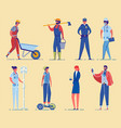 diverse professional occupation characters set vector image
