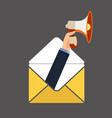 e-mail marketing concept hand holding megaphone vector image