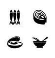 fish dish simple related icons vector image vector image