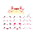funny kawaii style cat emoticon icon set vector image