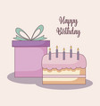 gift box with sweet cake vector image vector image