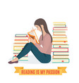 girl reading a book vector image
