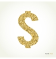 Gold glitter dollar sign on white background vector image vector image