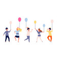 happy children group kids with balloons vector image