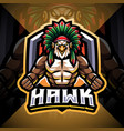 hawk esport mascot logo design vector image