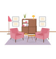 interior of lounge area furnished in retro 80-s vector image