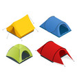 isometric icon set of tourist tents flat 3d vector image vector image