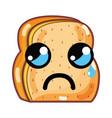 kawaii cute crying chopped bread vector image vector image