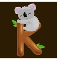 letter K with koala animal for kids abc education vector image vector image